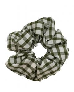 JA•NI Hair Accessories - Hair Scrunchies, The Green Wide Checkered